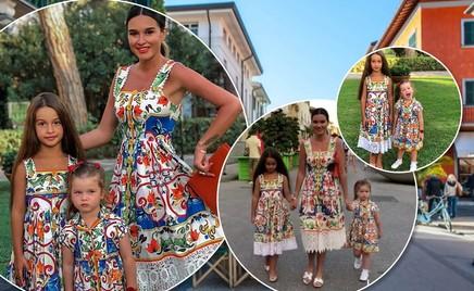 Прогулки по Тоскане: Ксения Бородина с дочками в цветастых платьях