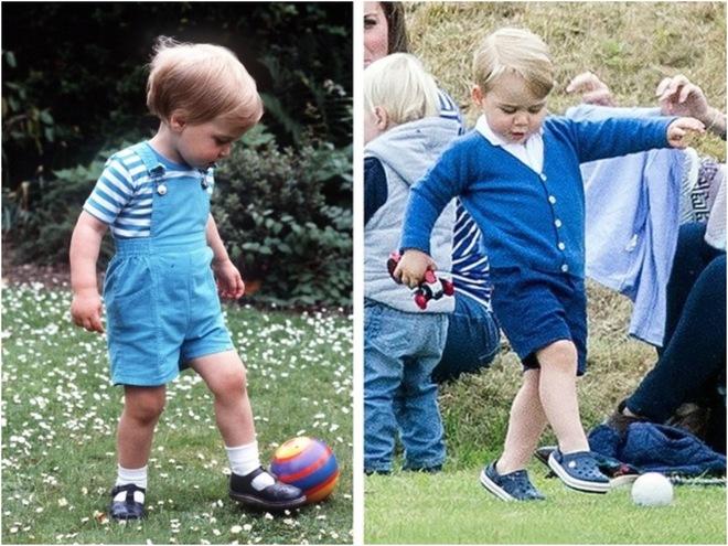 Принц Уильям и принц Джордж играют в футбол